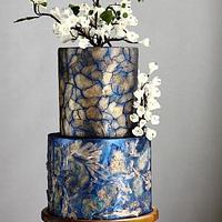 MIXED MEDIA ART WEDDING CAKE