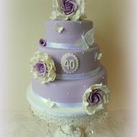 40th Vintage Chic Birthday Cake