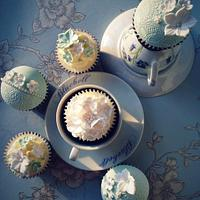 Green and white lace cupcakes by Sarah Cain