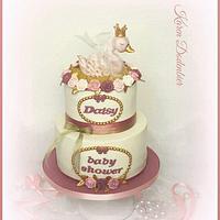 Swan baby shower cake