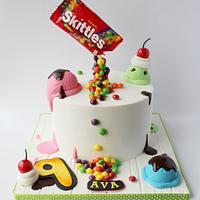 Skittles and ice cream cake