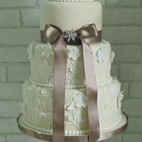 Lace look wedding cake