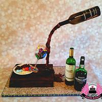 Gravity-defying Wine Tasting Cake