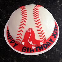 Red Sox baseball cake by Chrissa's Cakes