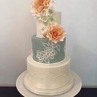Vintage brush embroidery Wedding Cake