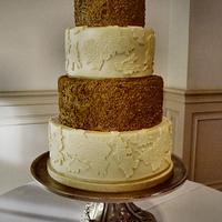 Gold Sequins and Lace Wedding cake