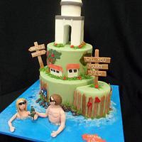 Amalfi Coast Engagement Cake