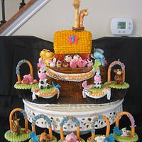 Noah's ark for Twin birthday cake & cupcakes