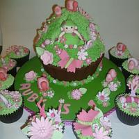 Pea pod baby garden themed giant cupcake with matching cupcakes <3