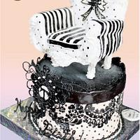 Black and White Chair Birthday Cake