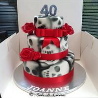 Skulls & Roses design 3 Tier 40th Birthday Cake