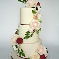 P&R Wedding Cake (peony and roses)