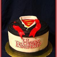 Superman/Clark Kent dress shirt cake by First Class Cakes