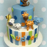 Animal 1st Birthday Cake