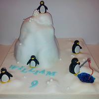 Penguin snowball fight