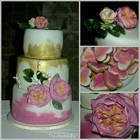 Wedding cake with flowers from edible paper