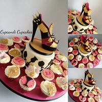 Baroque sugar spiked  shoe cake and matching cupcakes