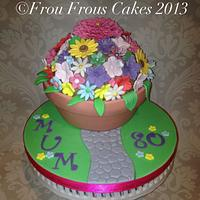 Flower pot giant domed cupcake for a special lady