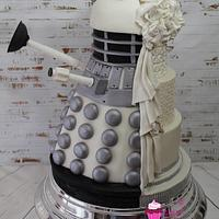 Dalek half and half wedding cake