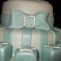 Baby Boy footprint Christening Cake by Cakesnstuff