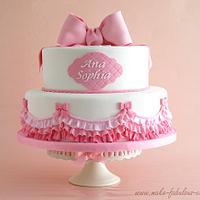 Pink Ruffles Baptism Cake