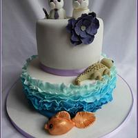 Ombre Ruffle wedding cake
