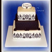 Black & White Damask Birthday Cake