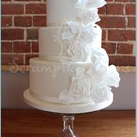 Cascading Roses Ivory Wedding Cake
