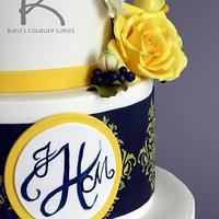Marine Wedding with Monogram and Sugar Flowers