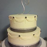 Ivory and Black Sparkly Wedding Cake w/ Rhinestones