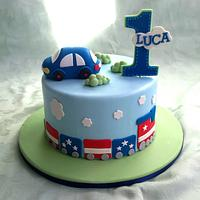 Little train and car themed birthday cake