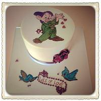 "Handpainted ""Dopey"" birthday cake"