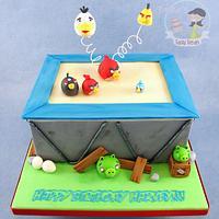 Angry Birds on a Trampoline Birthday Cake