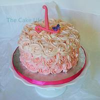 pink butter cream rose smash cake