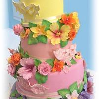 Masquerade and flowers cake