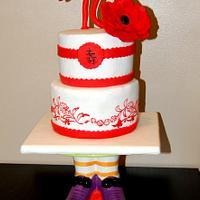 red and white birthday cake