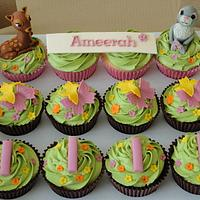 Bambi first birthday cupcakes