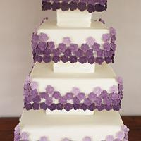 Kirsty 4 Tier Square Blocked Wedding Cake by Scrummy Mummy's Cakes