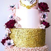 peach-marsala wedding cake