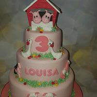 Pink farm animal cake❤