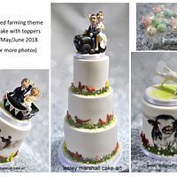 Handpainted farming wedding cake