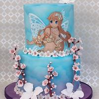 Handpainted Anime Blossom Fairy - my daughter's 13th Birthday cake