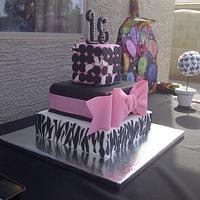 Pink and zebra print quinceanera cake