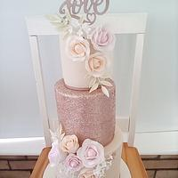 Rose gold glitter wedding cake