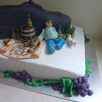 shoe /drunk men /wine cake?