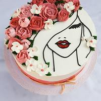 Flower lady cake