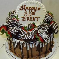 Chocolate covered strawberry devils food cake!