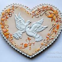 Autumn wedding. Pigeons