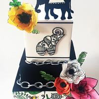Hand painted elephant cake
