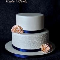 Elegant stenciled wedding cake